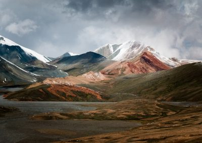 Colored moutains covered by snow, Kyzylart Pass, Tajikistan